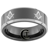 **Clearance** 8mm Black Beveled Two-Toned Tungsten Carbide Masonic Design - Sizes 6 1/2, 12 1/2
