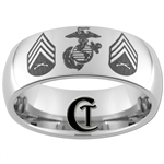 CLEARANCE 8mm Dome Tungsten Carbide Marines Design.