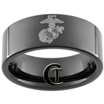 **Clearance** 9mm Black Pipe Tungsten Carbide Marines Laser Design - Size 8 1/2
