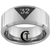 **Clearance** 10mm Beveled Tungsten Carbide Satin Finish Masonic Design - Size 8