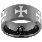 **Clearance** 10mm Black Beveled Tungsten Carbide Maltese Cross Design - Sizes 5, 6
