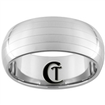**Clearance** 10mm Dome Tungsten Carbide Two Lasered lines Design - Sizes 6 1/2, 8, 8 1/2, 13 1/2