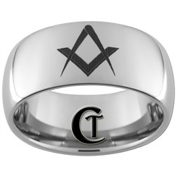 **Clearance** 10mm Dome Tungsten Carbide Masonic Design - Limited Sizes