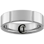**Clearance** 7mm Side Grooved Pipe Tungsten Carbide Ring - Size 13