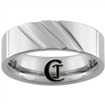 **Clearance** 7mm Horizontal Grooved Pipe Tungsten Carbide Ring - Sizes 8, 9, 10