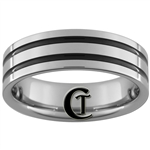 *Clearance** 7mm Pipe 2-Groove Enameled Tungsten Carbide Ring -Limited Sizes - 12