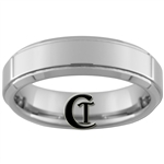 **Clearance** 6mm Beveled 1 Step Tungsten Carbide Ring - Size 9