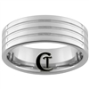 **Clearance** 8mm Piped 3-Grooved Tungsten Carbide Ring - Size 10 1/2