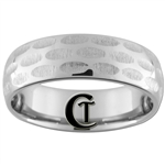 **Clearance** 7mm Side Cut Grooves Dome Tungsten Carbide Ring - Sizes 9, 10, 11