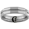 **Clearance** 6mm Bevel Groove Tungsten Carbide Faceted Ring -Limited Sizes - 9