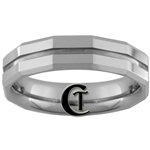 **Clearance** 6mm Bevel Groove Tungsten Carbide Faceted Ring - Sizes 9, 10, 11