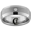 **Clearance** 8mm Beveled w/ CZ Tungsten Carbide Stone Finish Ring - Size 9
