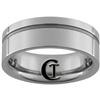 **Clearance** 8mm Pipe Side Grooved Tungsten Carbide Ring -Limited Sizes
