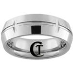 **Clearance** 8mm Side Grooved Beveled Dome Tungsten Carbide Ring - Sizes 11, 11 1/2