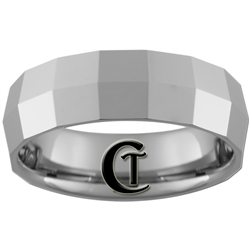 **Clearance** 7mm Faceted Beveled Tungsten Carbide Ring -Sizes 9, 10, 11