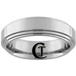 **Clearance** 7mm Pipe 2-Step Tungsten Carbide Ring - Sizes 9, 10