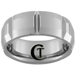 **Clearance** 8mm Side Grooved Beveled Tungsten Carbide Ring -Limited Sizes 7, 7 1/2, 8 1/2, 11 1/2