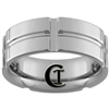 **Clearance** 8mm Side Grooved Pipe Tungsten Carbide Ring - Sizes 5, 6 1/2, 8