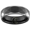 **Clearance** 7mm Dome Black Tungsten Carbide Faceted Design -Limited Sizes - 8.5