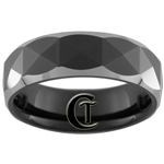 **Clearance** 7mm Dome Black Tungsten Carbide Faceted Design -Limited Sizes - 8