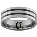*Clearance** 7mm Pipe 2 Black Grooved Tungsten Carbide Ring -Limited Sizes - 9.5