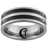 *Clearance** 8mm Pipe 2 Black Enameled Grooves Tungsten Carbide Ring -Size 8