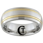 8mm Dome Stainless Steel Two-Toned Ring - Limited Sizes