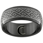 8mm Black Dome Stainless Steel Celtic Design Ring - Sizes 10 & 11