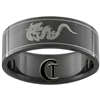 8mm Black Pipe Stainless Steel Dragon Design Ring - Sizes 6, 6 1/2, 10, 10 1/2, 11