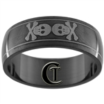 8mm Black Dome Stainless Steel Skull Design Ring - Sizes 11, 12 1/2