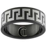 8mm Black Pipe Stainless Steel Celtic Design Ring - Sizes 10, 10 1/2