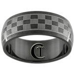 8mm Black Dome Stainless Steel Checkered NASCAR Design Ring - Limited Sizes