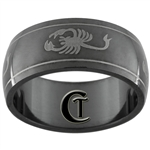 8mm Black Dome Stainless Steel Scorpion Design Ring - Sizes 6, 7, 7 1/2, 10