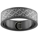 8mm Black Pipe Stainless Steel Lasered Design Ring - Size 14