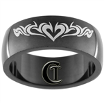 8mm Black Dome Stainless Steel Heart Design Ring - Size 10