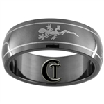 7mm Black Dome Stainless Steel Gecko Design Ring - Size 7 1/2