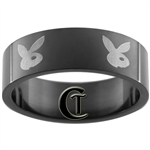 8mm Black Pipe Stainless Steel Bunny Design Ring - Size 14