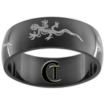 8mm Black Dome Stainless Steel Gecko Design Ring - Sizes 10, 11