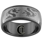 8mm Black Dome Stainless Steel Dragon Design Ring - Sizes 7 1/2, 12