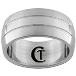 10mm Dome Satin Sides Stainless Steel Ring - Limited Sizes