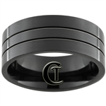10mm Black Pipe with 2-Grooves Stainless Steel Ring - Limited Sizes