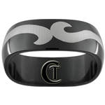 8mm Black Dome Stainless Steel Wave Design Ring - Limited Sizes