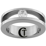 7mm Pipe w/ CZ Stainless Steel Wedding Ring - Limited Sizes