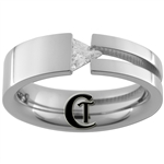 7mm Pipe w/ Triangle CZ Stainless Steel Wedding Ring - Limited Sizes