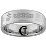 8mm Beveled White Tungsten Carbide Marines American Flag Masonic Claddagh Design Ring.