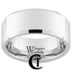 10mm Beveled White Tungsten Carbide Polished Ring
