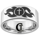 10mm Pipe White Tungsten Carbide Polished Religious Cross Ring