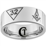 10mm Pipe White Tungsten Carbide Polished Masonic 32nd Degree Ring