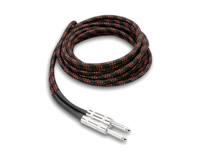 Hosa 3GT-18C5 - Cloth-Woven Guitar Cables - RED/BLK - 18 ft.