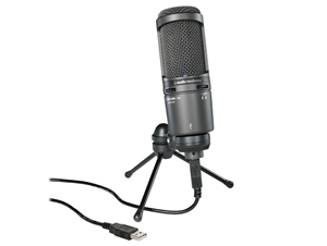 Audio-Technica AT2020USB+ Side-address Cardioid Condenser USB Microphone with built-in headphone jack